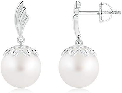 Südsee Zuchtperlen Pearl Baumeln Ohrringe mit Flügel Motiv in 14 K Weiß Gold (9 mm Südsee Zuchtperle)