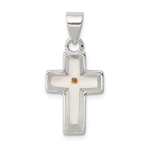 Jewel Tie Sterling Silver Enameled Mustard Seed Cross Pendant - (0.98 in x 0.47 in)