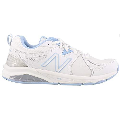 New Balance Women's wx857v2 Casual Comfort Training Shoe, White/Blue, 9.5 2A US