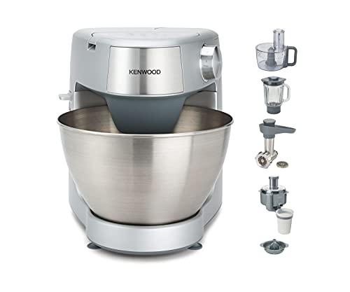 Kenwood Prospero+ KHC29.P0SI - Robot de cocina multifunción 1000 W, 4.3 L, mezcla, bate, amasa, batidora de vaso 1.5 L, procesador alimentos 1.4 L, 3 discos, exprimidor, picadora, licuadora, plata