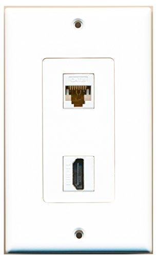 RiteAV - 1 x Cat6 Ethernet Female and 1 x HDMI Port Wall Plate Decorative - White