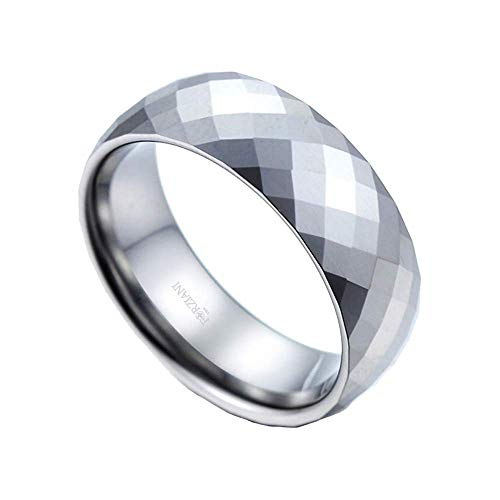 FORZIANI Men's 8mm Multi Faceted Tungsten Carbide Ring - Diamond Groove Pattern Brushed Band Ring for Men in Comfort Fit - Size 11 - Great Gift for Men