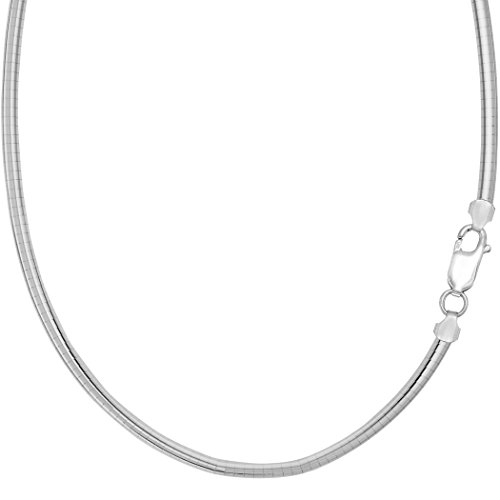 Sterling Silver Rhodium Plated Omega Dome Chain Necklace, 4mm, 16