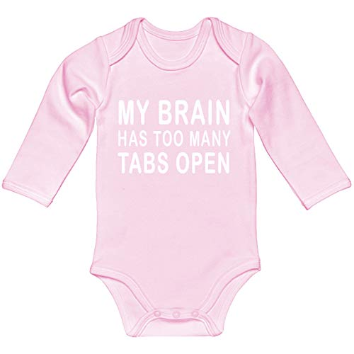 Indica Plateau Baby Romper Too Many Tabs Open Light Pink for 6 Months Long-Sleeve Infant Bodysuit (Best Funny Facebook Status Updates)