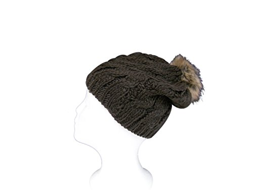 Womens Warm and Stylish Ultra Soft Cable Knit Faux Fur PomPom Beanie Hat with Fleece Lining - Brown (Burgundy Felt Bonnet)