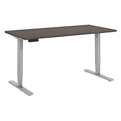 Move 80 Series by Bush Business Furniture 60W x 30D Height Adjustable Standing Desk in Cocoa with Cool Gray Metallic Base