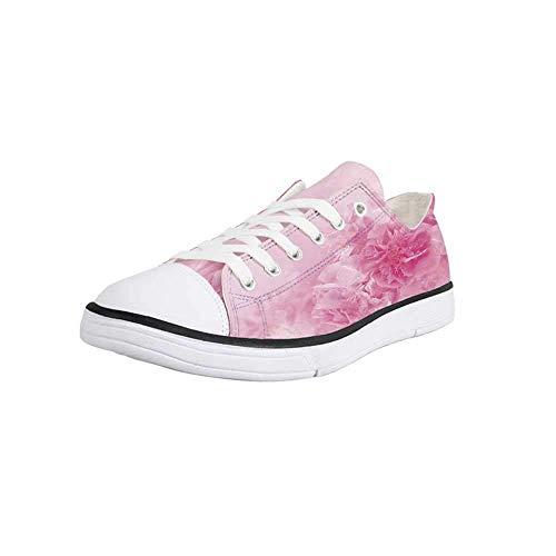 (Canvas Sneaker Low Top Shoes,Light Pink,Spring Flowers Close Up Florets Bouquet Elegance Beauty Wedding Shabby Chic Print Decorative Man 12)
