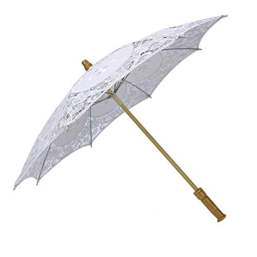 Pomeat 12 Inches Mini Vintage Wood Embroidery Pure Cotton Lace Umbrella Wedding Umbrella So Small for Wedding Gift Photo Props Kids Gift