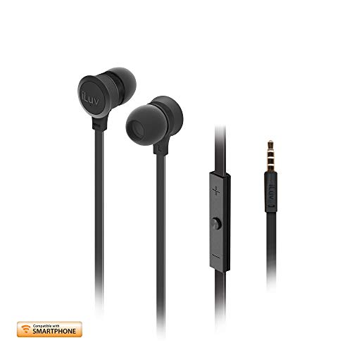 iLuv In-Ear High Performance Stereo Earphones with Mic for Hands-Free Call and Remote for iPhone, iPad, iPod, SAMSUNG, LG, Google Next, Others phones, tablets and MP3 (Black)
