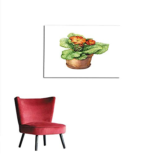 (homehot Painting Post Red Primula in Clay Flowerpot Mural 32