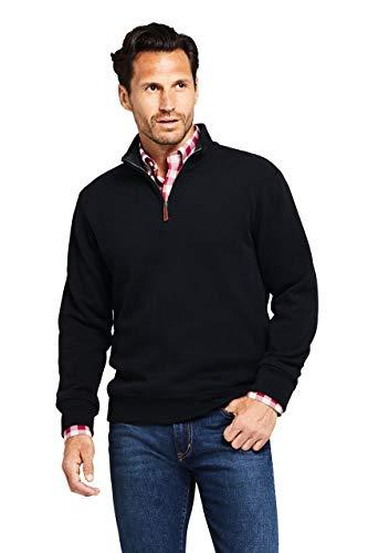 Lands' End Men's Bedford Rib Quarter Zip Sweater Black
