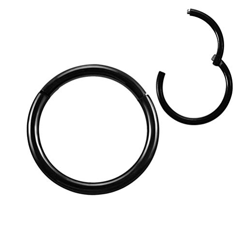 Formissky-Sisa 16G Hinged Lip Nose Ring 6mm Black Septum Daith Cartilage Earrings Piercing Jewelry Surgical Steel