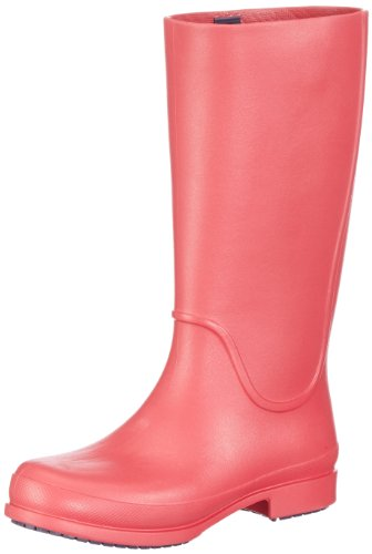 Crocs Wellie Rain Boot W - Botas de agua, color: Negro Rojo