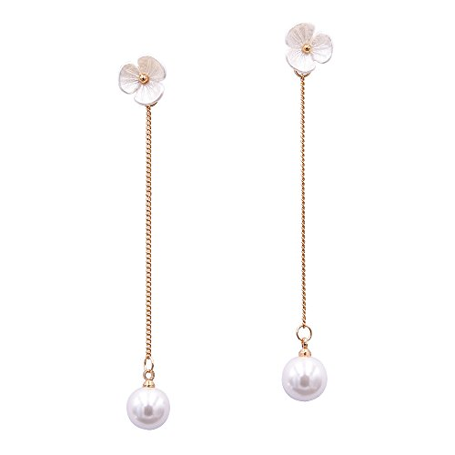 - Chunxin Women's Simulated Pearl Drop Earrings Long Flower Earrings Chain Pearl Dangle Earring for Girl (Gold-Plated-Brass)
