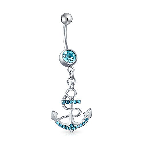 Nautical Anchor Dangle Belly Ring Simulated Aquamarine Crystal 316L Stainless Steel Steel 14 Gauge