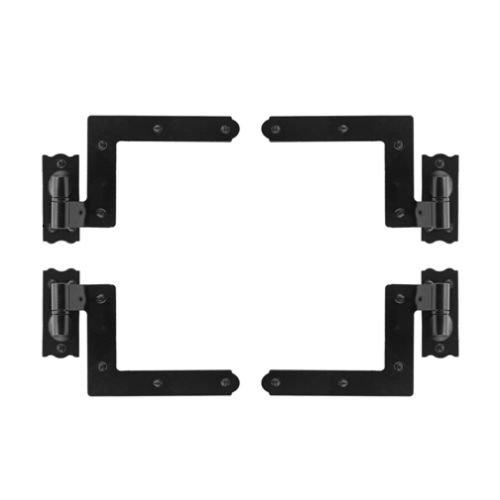 EZ-Set 489100 5'' x 4.25'' Iron Decorative Plain Bearing Surface Mount Shutter Hin, Black