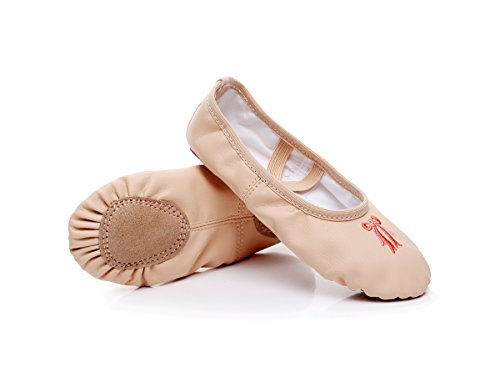 WELOVE Ballet Slipper Embroidery Shoes Pointe Leather Split