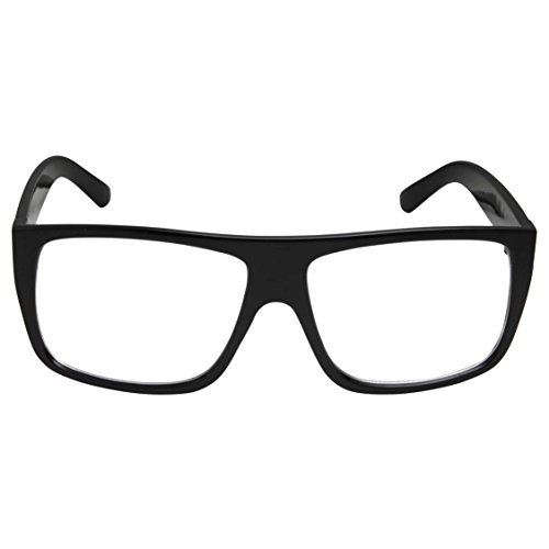 grinderPUNCH Black Square Non-Prescription Clear Lens Glasses Flat Top Mob ()