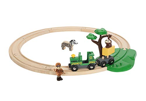 - BRIO World - 33720 Safari Railway Set | 17 Piece Train Toy with Accessories and Wooden Tracks for Kids Ages 3 and Up