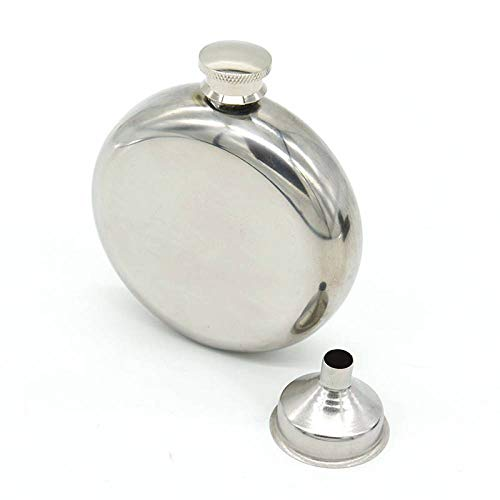Cancer LLC - Stainless Steel vodka liquor Hip Flask Funnel Round Shape Wine Bottle whisky Pocket Flagon Mirror surface