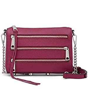 Panama Mini 5 Zip Leather Crossbody - Magenta/One Size