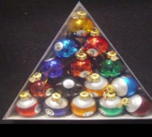 Kurt Adler 40mm Medallion Collection 15 Piece Glass Pool Balls (Pool Ball Ornaments)