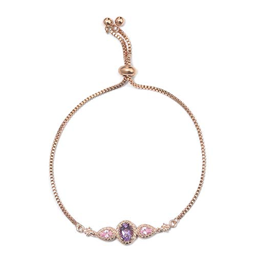 - Shop LC Delivering Joy 14K Rose Gold Over Brass Magic Ball Bolo Bracelet Rose De France Amethyst Pink Cubic Zircon CZ Gift Jewelry Adjustable 1.1 Cttw