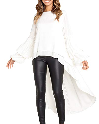 Grande Longues Tops Tunique Chic Chemisier Femme Couleur Mode Volants Rond Unie Blanc Col Manches Longue Taille q7wnw61