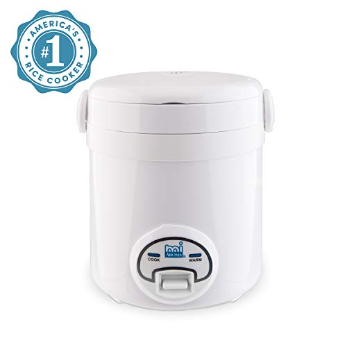 Aroma Housewares MI 3-Cup (Cooked) (1.5-Cup UNCOOKED) Cool Touch Mini Rice Cooker,White