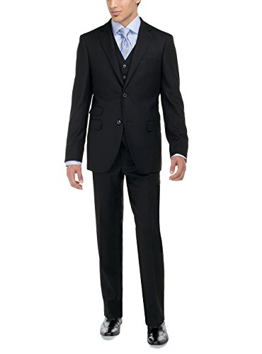 LN LUCIANO NATAZZI Men's Two Button Bird's Eye 3 Piece Modern Fit Vested Suit (42 Regular US/52R EU/W 36