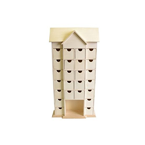 Artemio 14001542 Wooden Advent Calendar House with Drawers To Decorate-25cmx 51cmx 9Cm