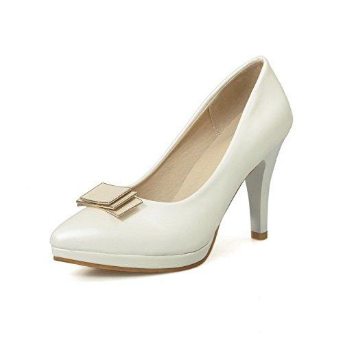 AgooLar Damen Hoher Absatz Spitz Zehe Rein PU Ziehen auf Pumps Schuhe Weiß
