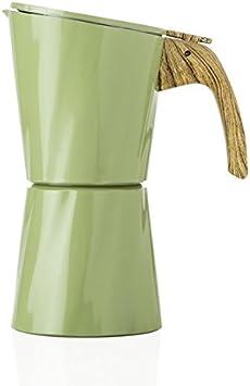 BRANDANI TOWER - Cafetera de aluminio (4 tazas), color verde ...