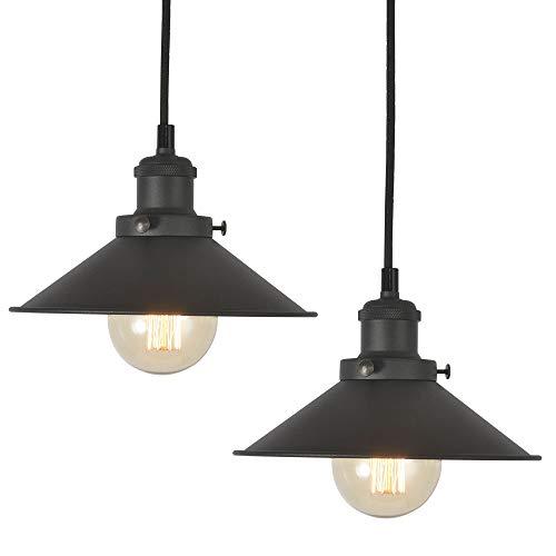 AILIN Retro Industrial Edison Pendant Light Fixture 2-Pack, Antique Hanging Light, Matte Black Metal Shade, Adjustable Wire, E26 Base, 1-Light