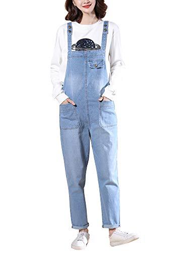 Denim Jean Romper - Women's Casual Baggy Denim Bib Overalls Cropped Harem Pant Jeans Romper Jumpsuits Light Blue Tag 3XL-US L