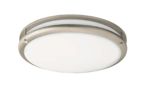 Lighting by AFX CSC22NT Contemporary 1-22 Watt Round Flush Mount Light, Nickel Finish Trim with White Acrylic Diffuser ()
