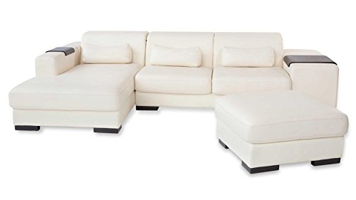 White Dublin Sectional Sofa – Left Chaise With Ottoman