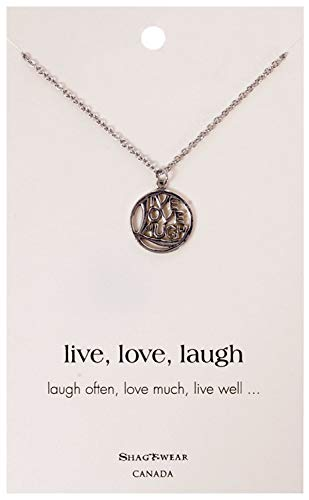 Shag Wear Inspirational Quote Pendant Necklace (Circle Live Love Laugh Pendant) ()