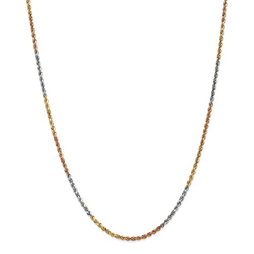 (Solid 14k Gold Tri-Color 2.5mm Diamond-Cut Rope Chain Necklace 20