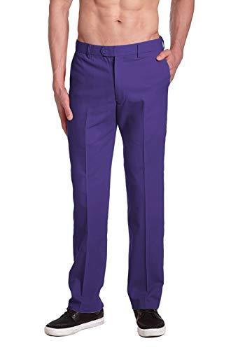 CONCITOR Men's COTTON Dress Pants PURPLE INDIGO Trousers Flat Front 38 x - Purple Indigo Color Dress