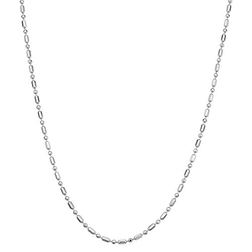 (Kooljewelry Sterling Silver Diamond-cut Alternate Ball Bar Chain Necklace (1.5 mm, 18 inch))