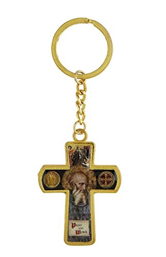 Jubilee Cross - Cross Key Chains Gold Tone Catholic Saint Benedict Religious, 4 3/8 Inch