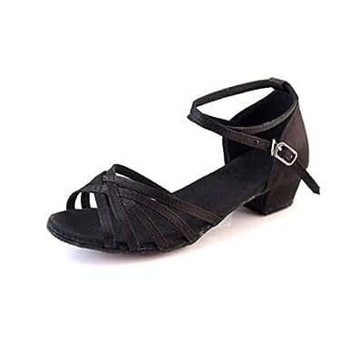 Fulision Girls Latin Salsa Party Tango Wedding Dress Dance Shoes for Women Black