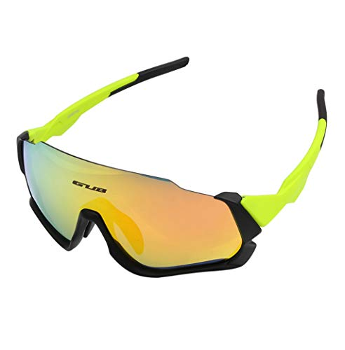 Zengya Cycling Glasses Sports Sunglasses UV400 MTB Road Bike Sunglasses 3 Lens 3 Color Lightweight Colorful Polarized Light Polarized Anti-Fog Anti-UV Riding (Color : Yellow)