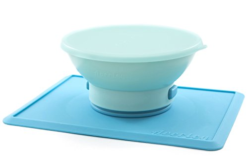 Averley Suction Placemat with Detachable Feeding Bowl (Light Blue Placemat, Mint ()