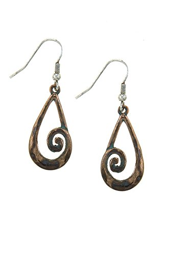 TRENDY FASHION JEWELRY ANTIQUE TEARDROP SPIRAL OUTLINE DROP EARRINGS BY FASHION DESTINATION | (Antique Copper) (Copper Earrings Coyote)