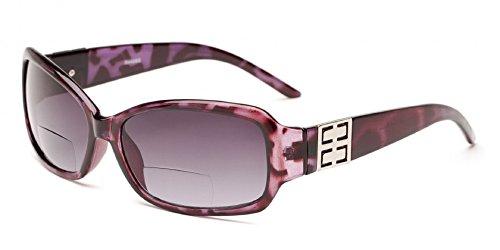 Readers.com The Karissa Bifocal Sun Readers for Women, Womens Rectangular Reading Glasses Sunglasses, Rectangle Full Frame Readers + 1.50 Purple Tortoise (Microfiber Cleaning Carrying Pouch - Best Bargain Sunglasses