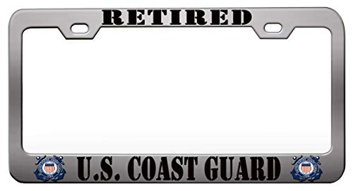 - RETIRED US COAST GUARD US Coast Guard Chrome Steel Metal License Plate Frame Auto Car SUV Tag Holder