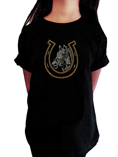 Girl's T-Shirt with Horse and Lucky Horseshoe - Equestrian in Rhinestones(Black,Medium (7-8))