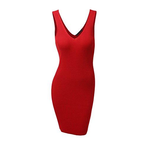Da Lavoro 80store Signore Abito V s Mini Rosso Donne Scollo Maniche A Vestito Delle Bodycon A Maglia Senza Modo wRrIwqfz